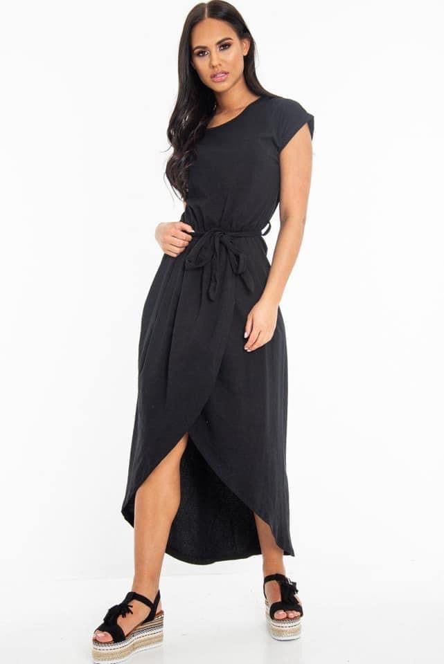 Women's split dress with tie belt