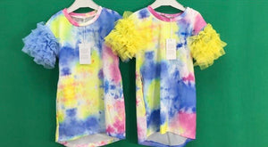 Girls Tie dye dress with frill sleeve.