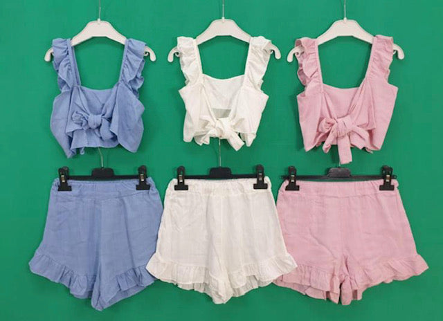 Kids 2 piece ruffle shorts set