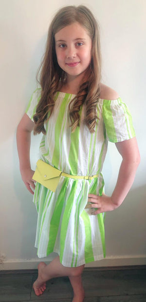 Girls striped dress with bag