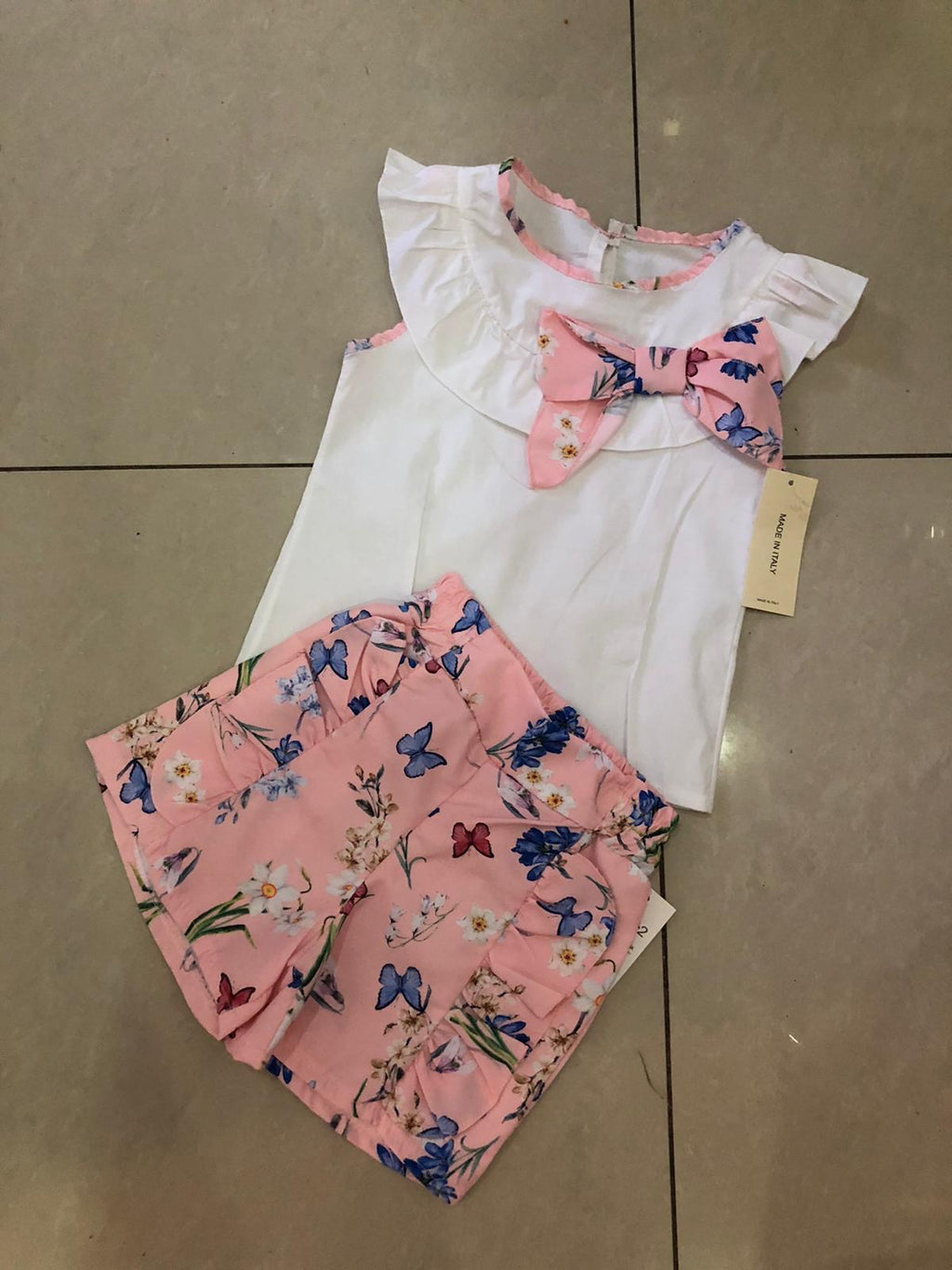 Girls Butterfly two piece short set