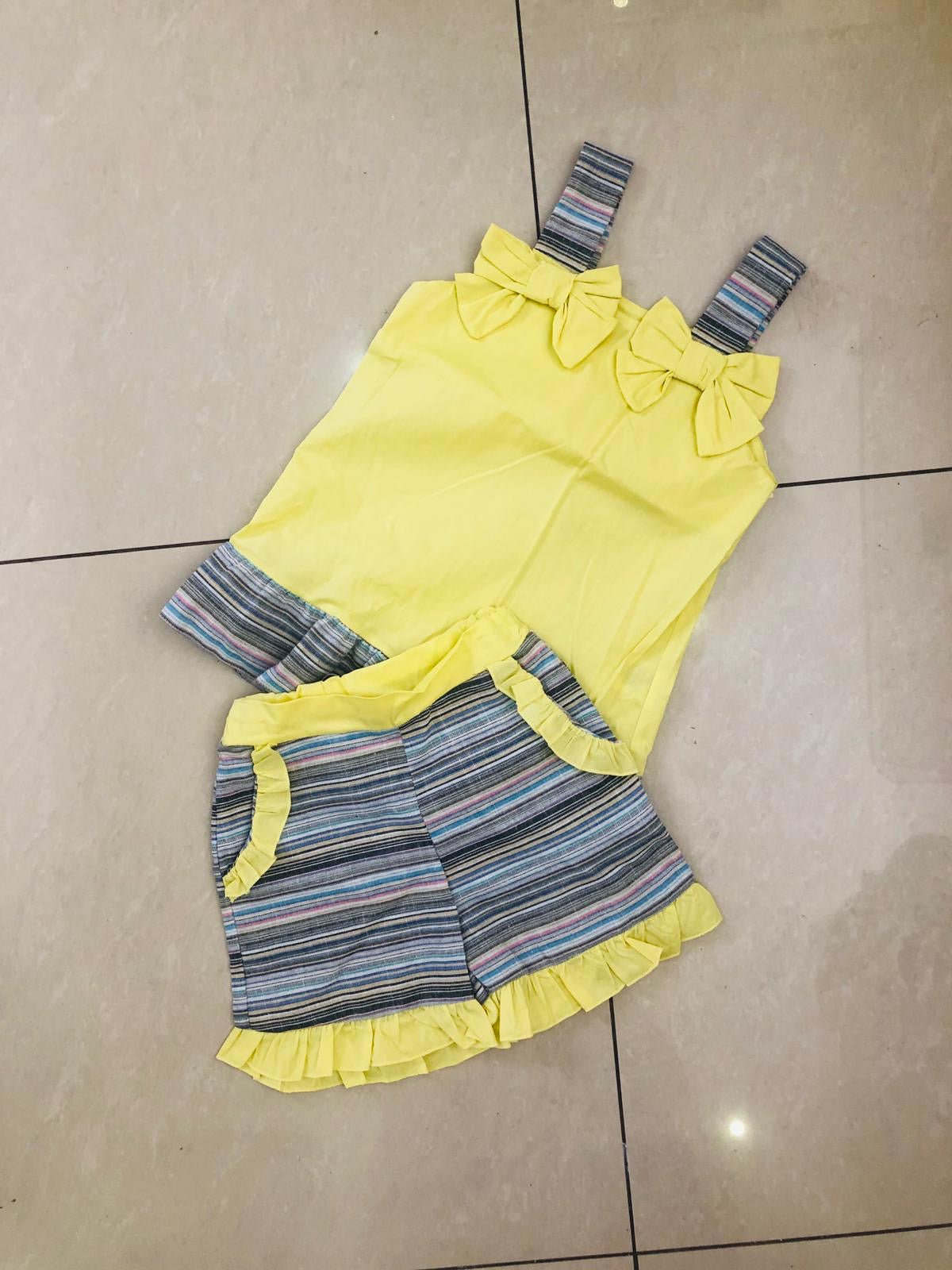 Kids two piece bow stripe shorts set