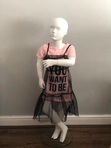 Kids be who you want to be netted dress