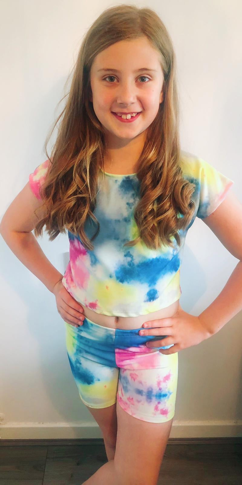 Kids Two piece tie dye short set