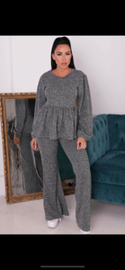 Grey peplum loungewear