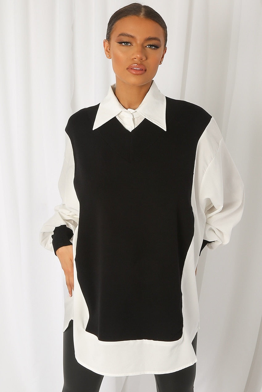 Black Bib collar shirt with puff sleeves