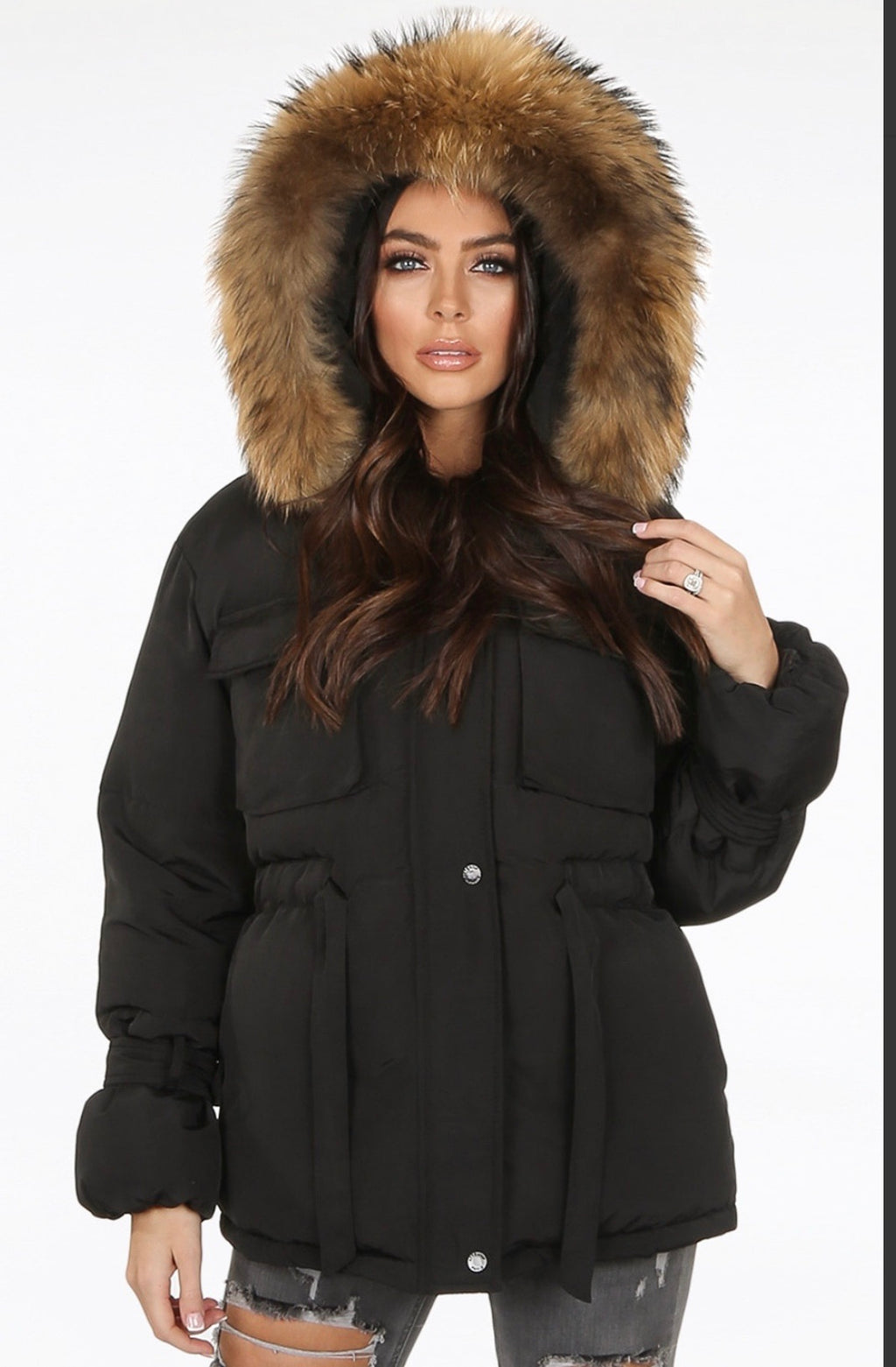 Black fur hooded Parker coat