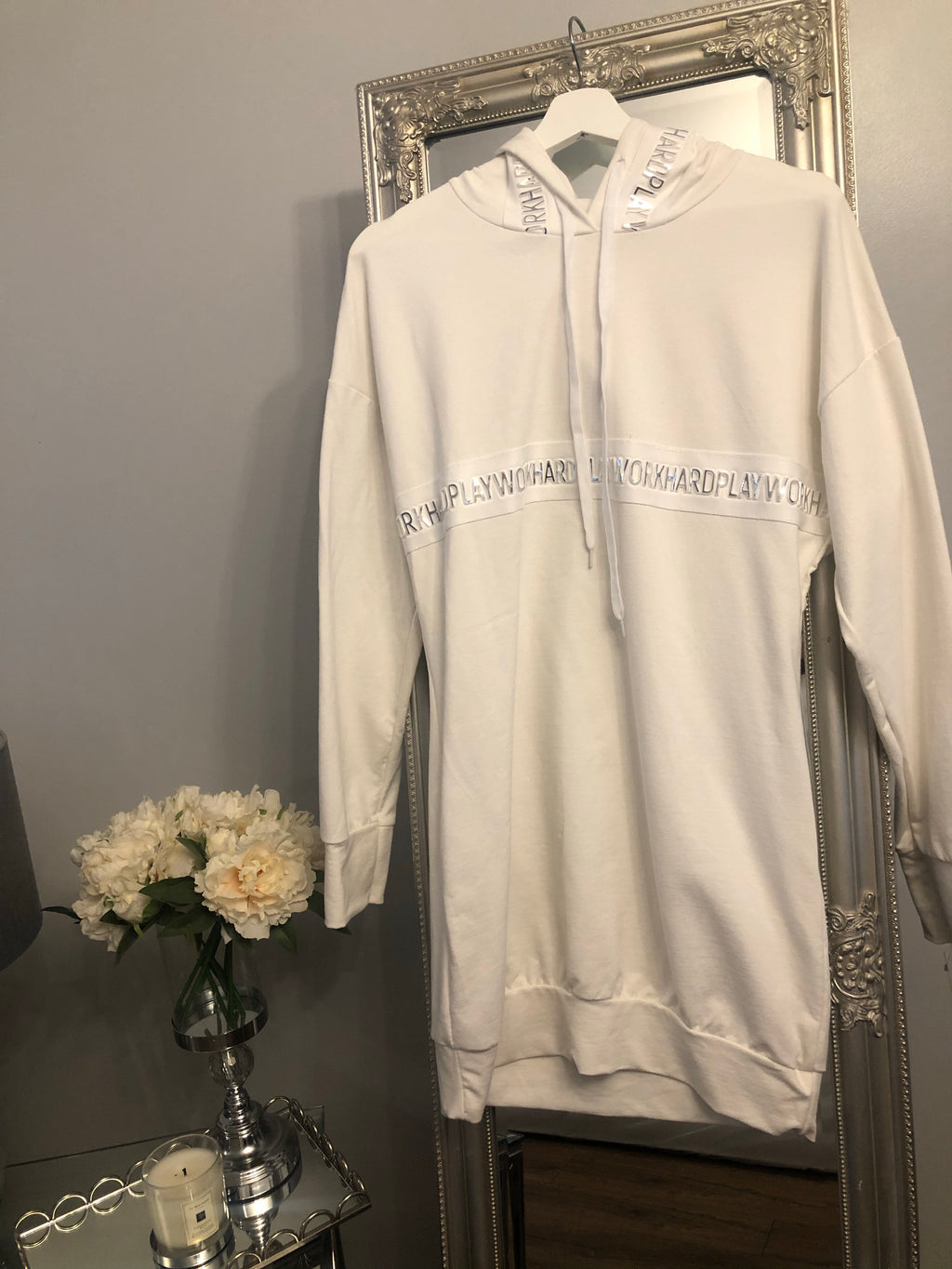 Longline cream hoodie/Dress