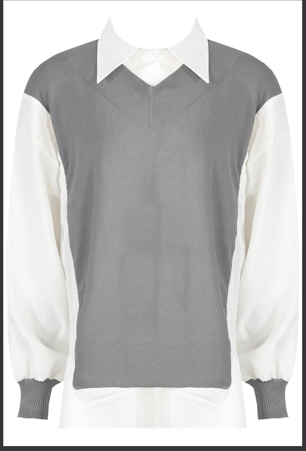 Grey Bib  collar shirt with puff sleeves