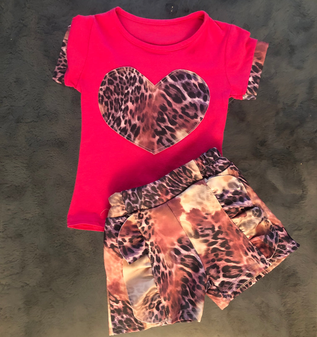 Two piece animal print short sets