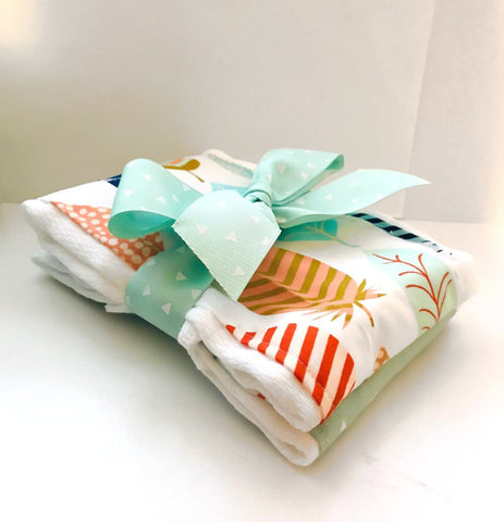 Feathers and Triangles Burp Cloth Set - Baby Shower Gift