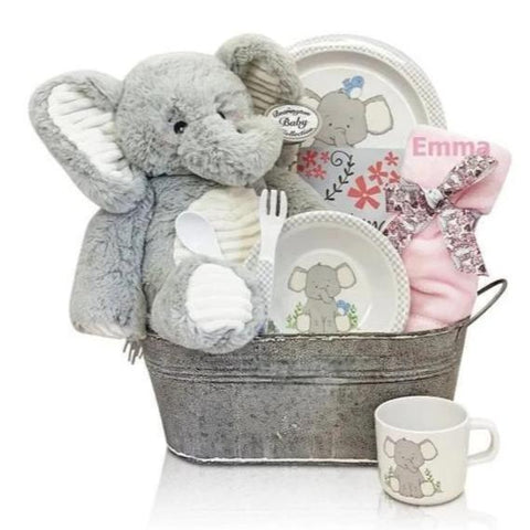 Baby Girl Pink Elephant Tin Gift Set