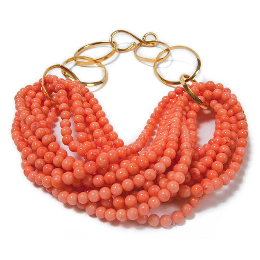 Catherine Canino | Gold & Salmon Coral Necklace