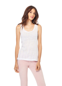 Ecru | Linen Tank w Embroidered Trim