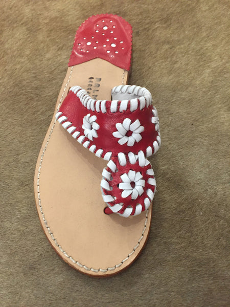 Palm Beach Sandals | Red with White