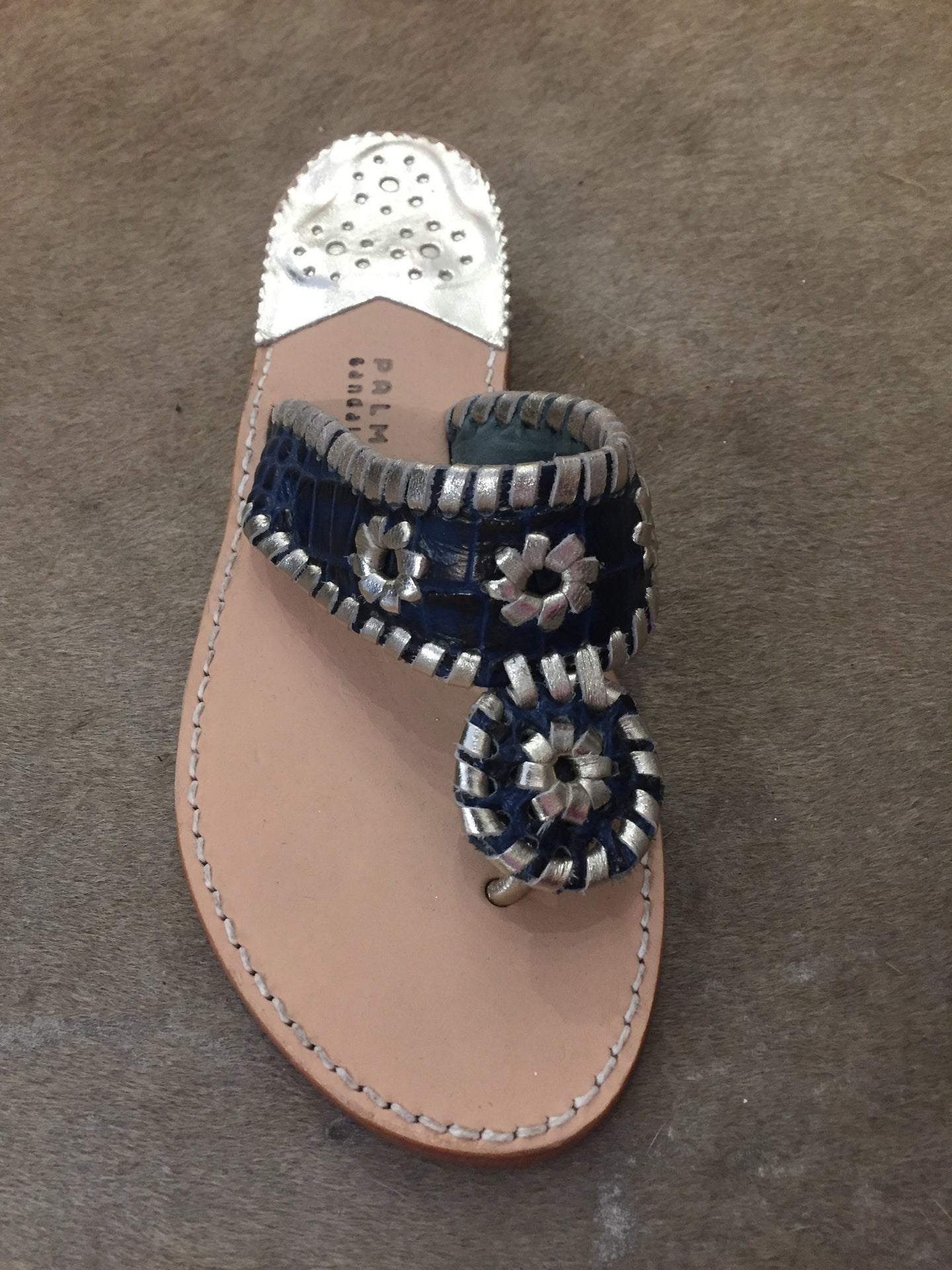 Palm Beach Sandals | Navy Croc with Pale Gold
