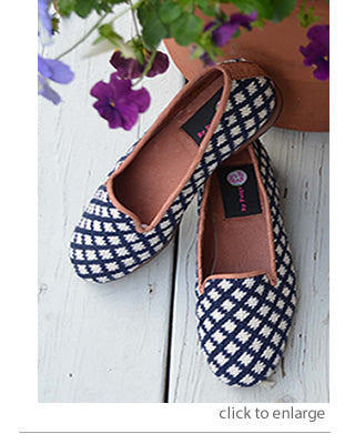 By Paige | Navy and White Check Loafer