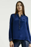 Max & Moi | Silk Shirt w Leather Trim