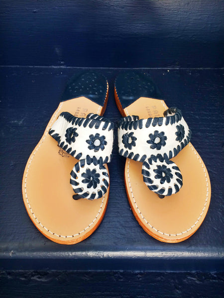 Palm Beach Sandals | White Croc with Navy