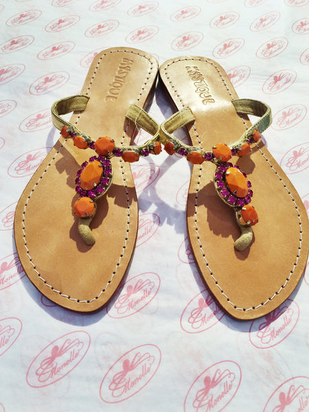 Mystique Sandals | Orange & Pink