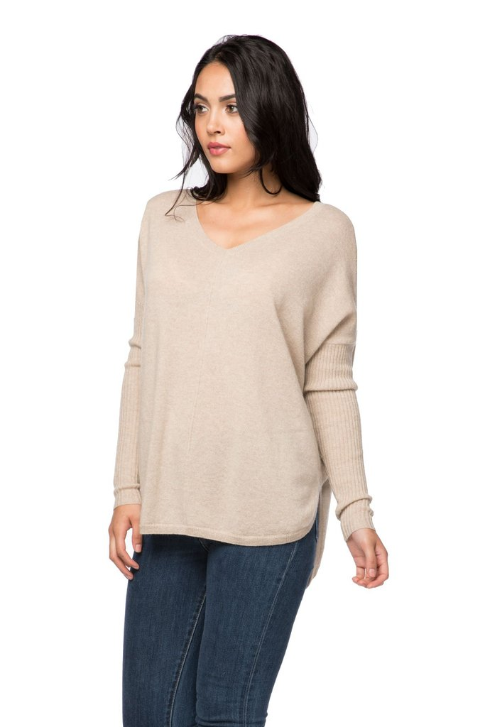 Nelly Cashmere Rib Sleeve V Neck