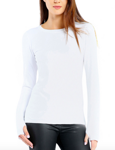 Michael Stars | Cotton Lycra Long Sleeve Tee w Thumbholes