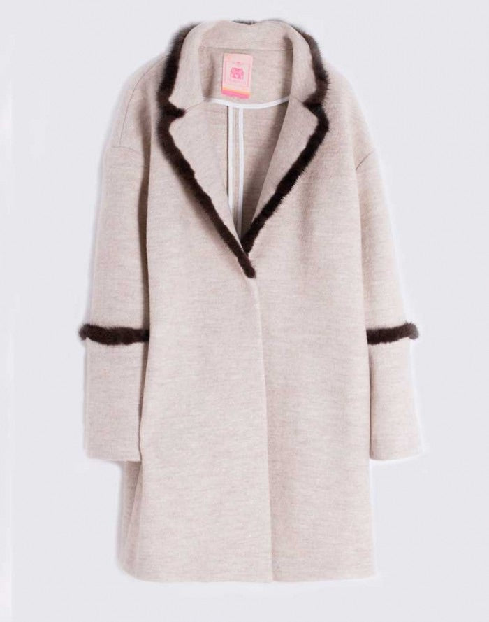 Annie Mink Trim Wool Coat