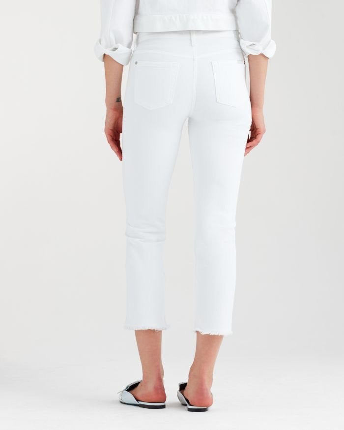 7 for All Mankind | Edie High Waist Crop w/ Wave Hem in White Fashion