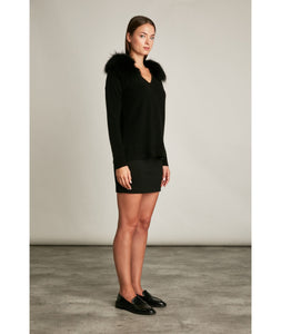 Hotel Particulier | Knit V-neck Pullover with Fur Collar