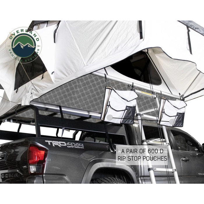 Roof Top Tent Extended 3 Person White/Dark Gray  Nomadic Arctic Overland Vehicle Systems - OffBeat Auto
