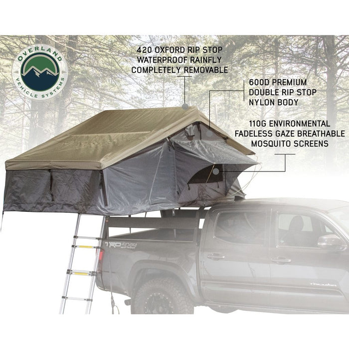 Roof Top Tent 3 Person Extended Dark Gray/Green With Bonus Pack Nomadic Overland Vehicle Systems - OffBeat Auto