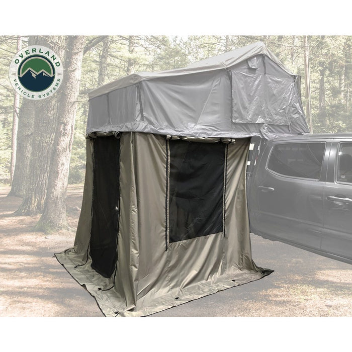 Roof Top Tent 4 Annex 100x80X82 Green Base Black Floor Travel Cover Nomadic Overland Vehicle Systems - OffBeat Auto