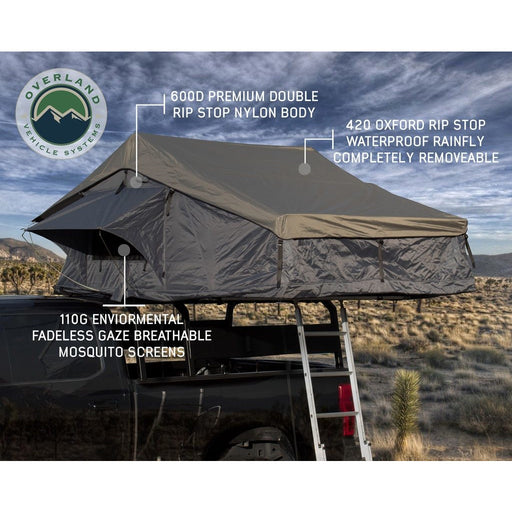 Roof Top Tent 4 Person Extended Dark Gray/Green With Bonus Pack Nomadic Overland Vehicle Systems - OffBeat Auto