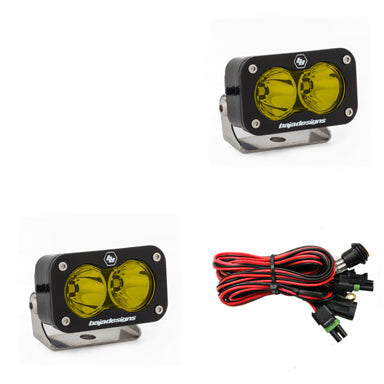 LED Light Pods Amber Lens Spot Pattern Pair S2 Pro Series Baja Designs - OffBeat Auto