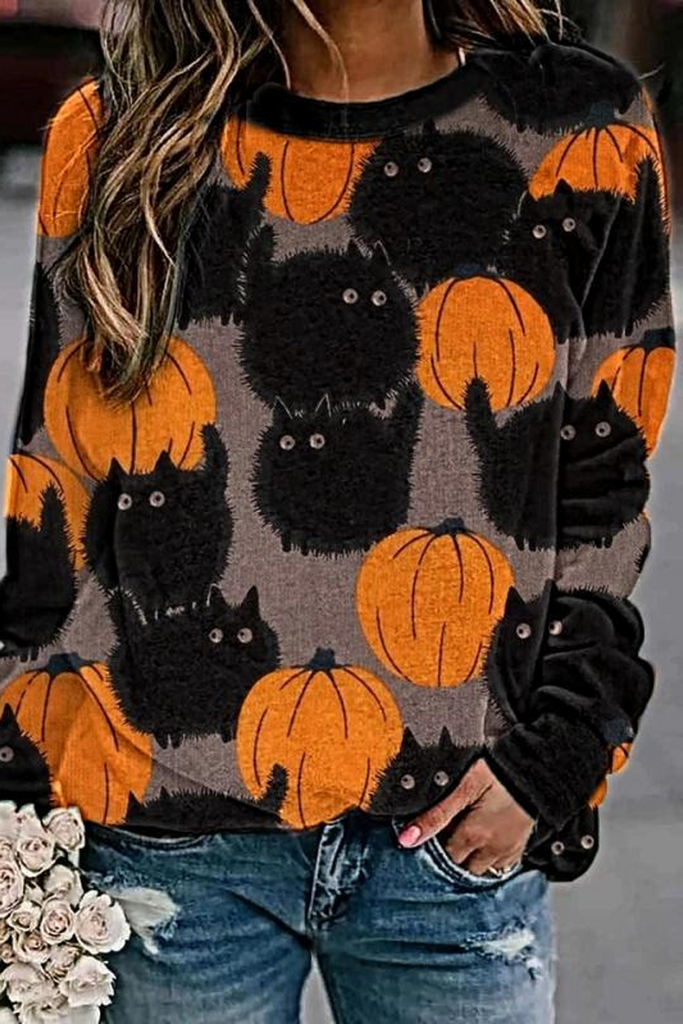Halloween Pumpkin Black Cat Print Sweatshirt