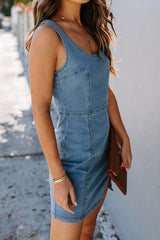 Denim Slit U-Neck Package Hip Mini Dress