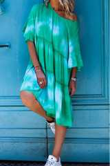 Tie Dye Round Neck Half Sleeve Midi Dress
