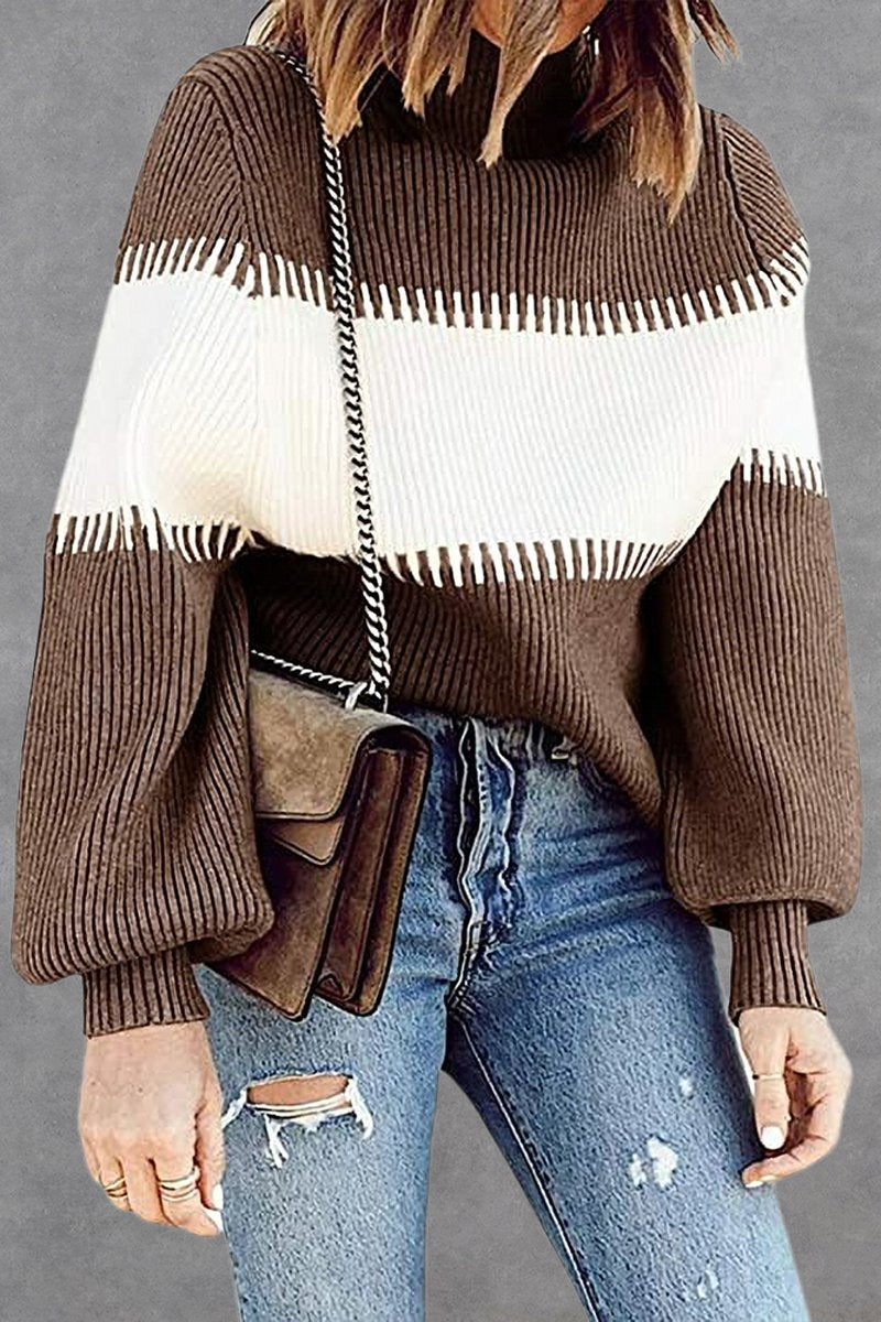 High Neck Contrast Color Sweater