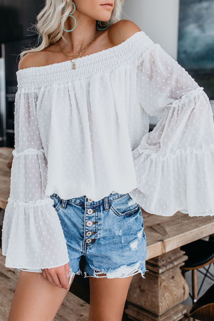 Off the Shoulder Flare Sleeve Chiffon Top