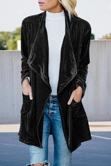 Pleuche Mid-Length Trench Coat