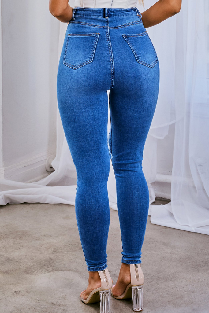 Denim Cutout Ripped Skinny Jeans