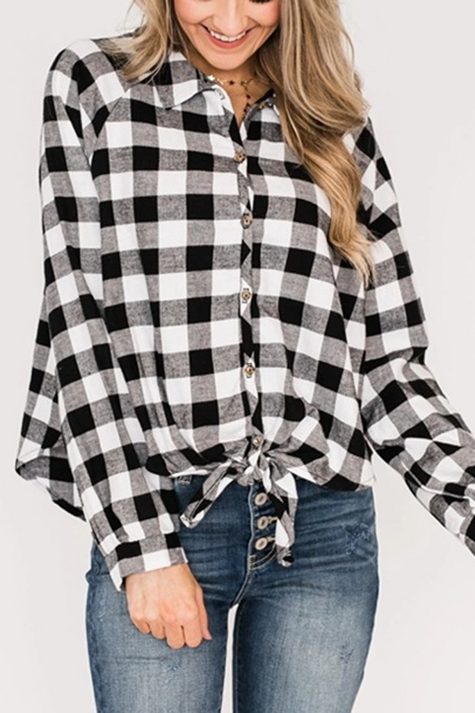 Plaid Casual Lapel Knotted Blouse