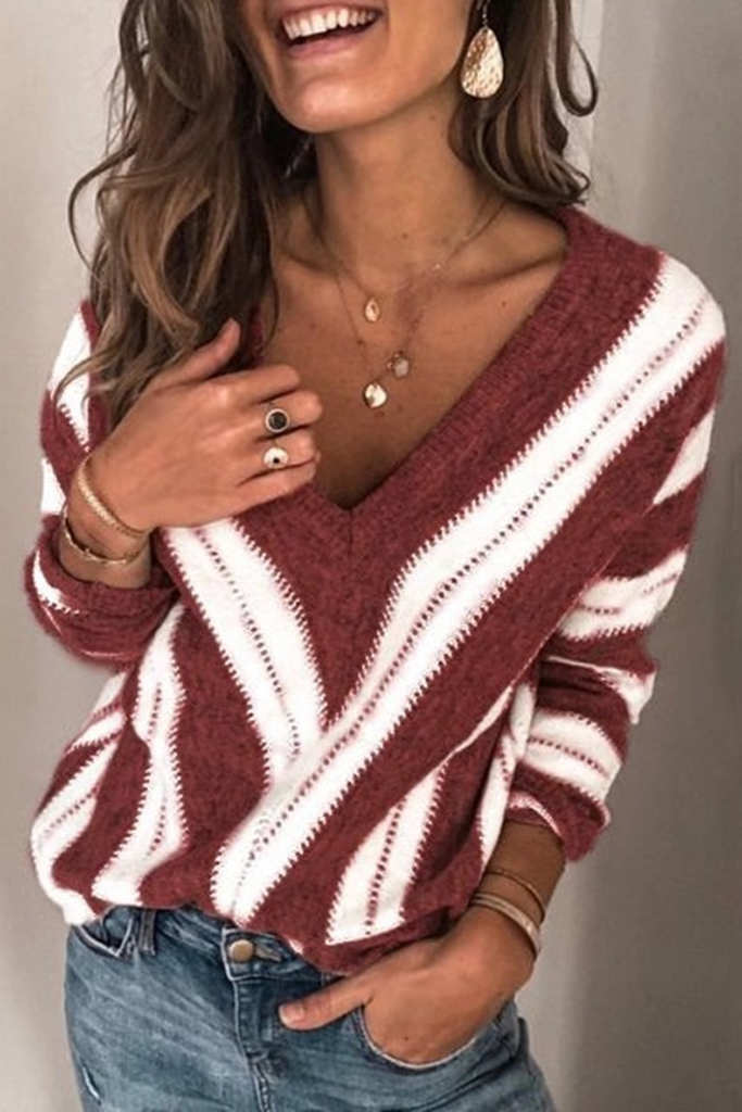 Stripe V-Neck Casual Sweater