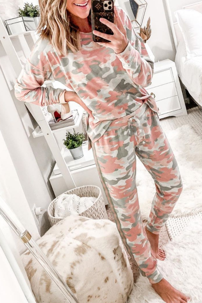 Camouflage Printed Long Sleeve Two Piece Sets