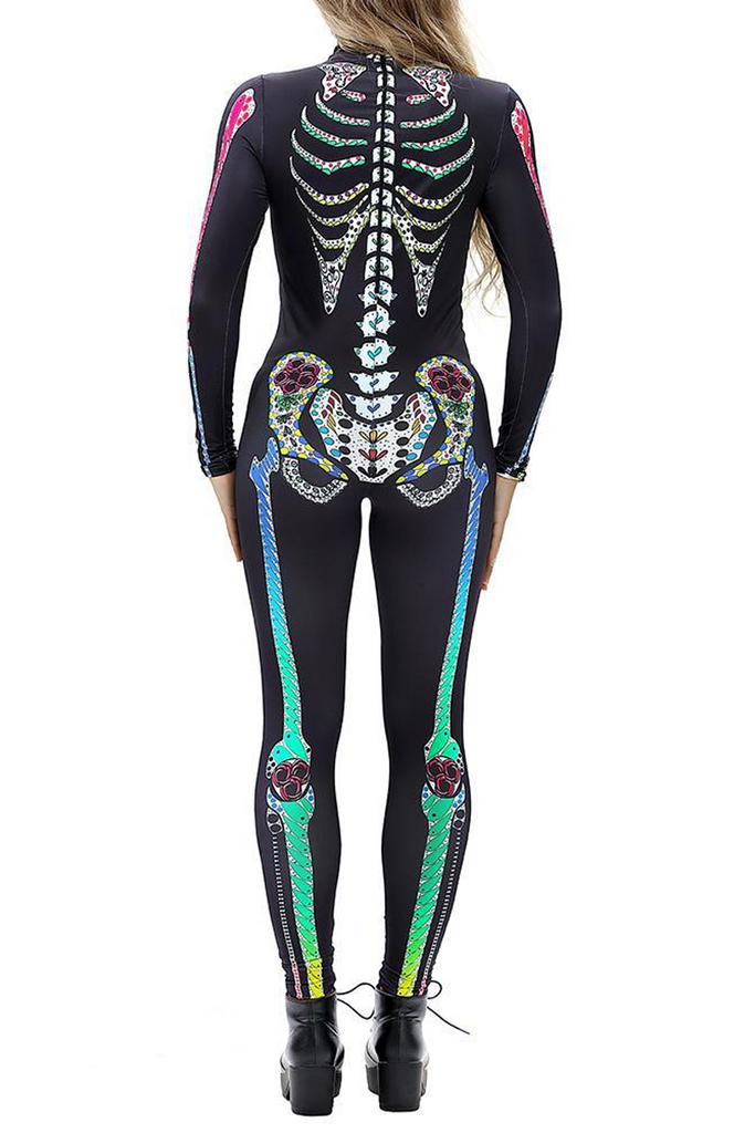 Halloween Costume Skull Skeleton Print Jumpsuit