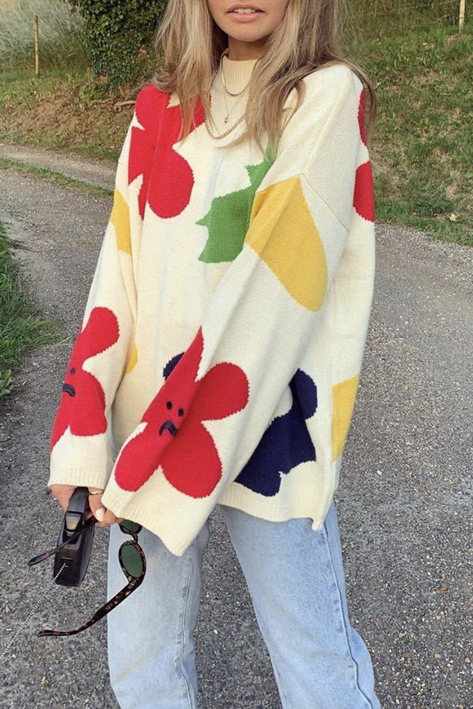 Sweet Floral Print Sweater
