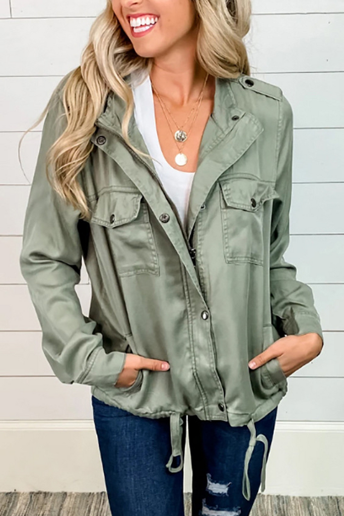 Solid Zipper Drawstring Jacket