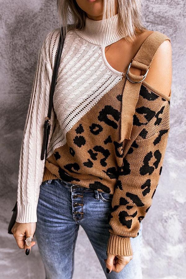 Leopard Patchwork High Neck Sweater