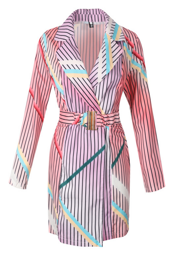 Multi Color Striped Belted Wrap Mini Dress