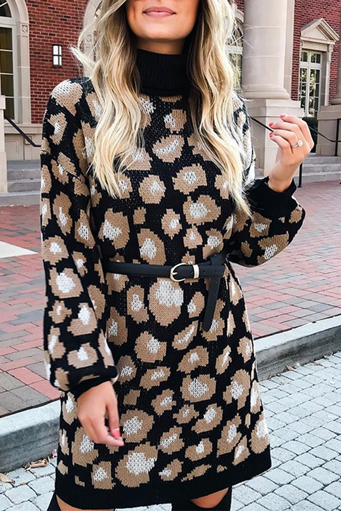 Leopard Print Sweater Dress(Without Belt)